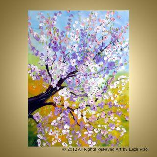 Modern Painting XLarge 48X36 SPRING MAGNOLIA TREE Art by Luiza Vizoli