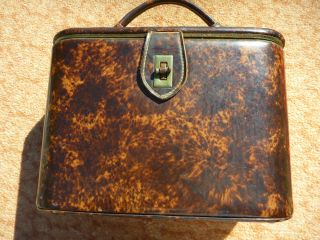 Vintage Train Case Cosmetic Makeup Luggage