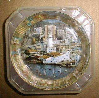 Vintage Glass Ashtray Recuerdo de Malaga Spain Excellnt