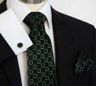 Black and Green Squares Paul Malone Silk Necktie with Hanky Cufflinks