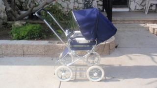 Emmaljunga Blue Pram Stroller Cadillac of All Strollers Chrome Wire