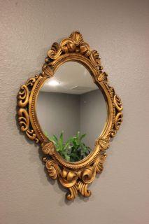French Antique Gold Ornate Ceramic Oval Magic Mirror Circle Snow White