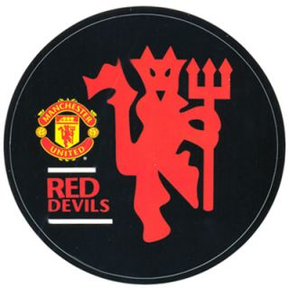 Manchester United Official Vinyl Sticker Black Red Devils Round Decal
