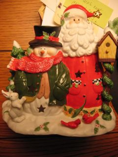 Home Interiors Homco Santa Snowman Christmas Candle Holder Figurine
