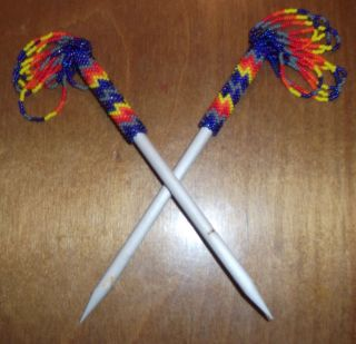 Beatuiful Pair of LAKOTA Sioux Beaded Hair Sticks