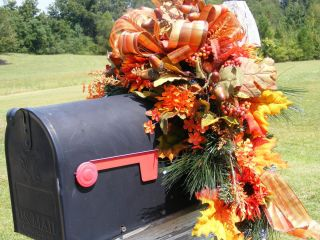 Petal Pushers Fall Harvest Mailbox Swag Artificial Wreath Decoration