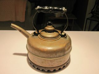 Vintage Simplex Copper Tea Pot Kettle England Coil Base Wood Handle