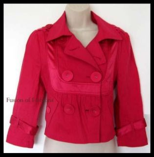 Marciano Hot Pink Satin Trim Cropped Pea Coat Style Jacket Size 4