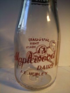 Vintage Maplewood Dairy 10 oz Milk Bottle J E Hubley 1948