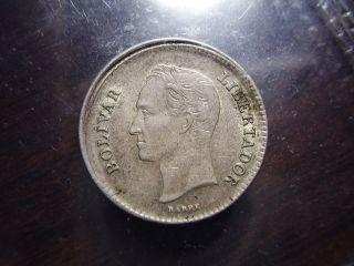 RARE Broad Struck Venezuela 1954 25 Centavos