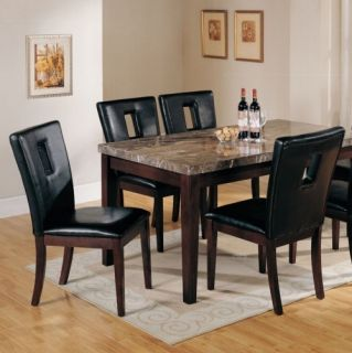 Black Espresso Marble Top Dining Room Table and Chair Set Modern