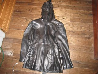 Andrew Marc Leather Coat Jacket Womens s Small Black Hood Zipper
