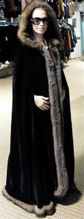 LUXE SORBARA  BLACK VELVET BARGUZIN SABLE FUR CAPE COAT