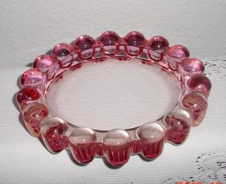 Collectible VTG MARBLE EDGE PINK Color GLASS ASHTRAY Unused Nice