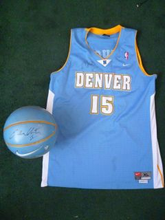 Marcus Camby Carmelo Anthony Signed Nike Ball and XL Jersey Denver
