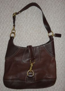 Coach Brown Pebble Leather Hobo Shoulder Bag Purse w Tags