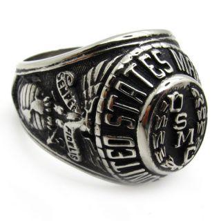 warrior hero badge marine corps USMC ring stainless steel punk size11