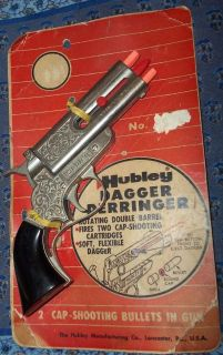 Vintage Hubley Dagger Derringer Toy Cap Gun Still on Card Nice