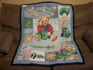 Handcrafted Quilt Blanket Teddy Bear Baby Nursery Denim