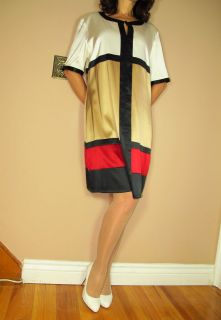 Marina Rinaldi Max Mara Stretch Silk Colorblock Red Black Whte Dress