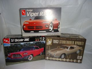 Vintage AMT Models 57 Chrysler 300C 63 Studebaker and Dodge Viper