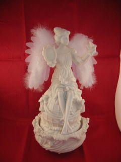Mark Klaus Fiber Optic White Revolving Angel Figurine