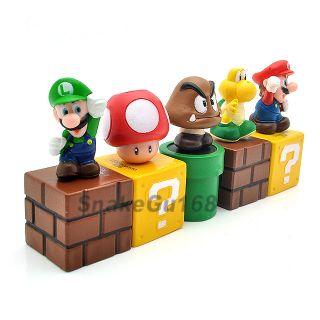 Lot 5 Super Mario Bros 2 Luigi Mario Figure Toy MS84