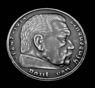 1939 A BERLIN GERMANY 2 SILVER MARK COIN W NAZI SWASTIKA ADOLF HITLER