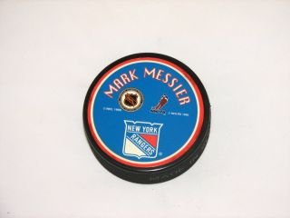 Mark Messier New York Rangers Official Licensed Litho Puck NEW Made in