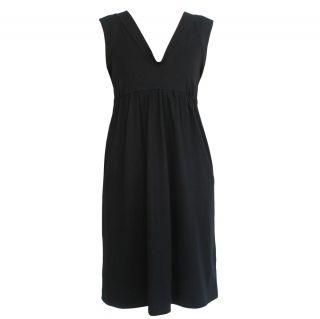 MARNI navy blue tie back empire waist dress 40 4 wool cotton low back