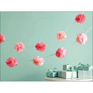 MARTHA STEWART 1 8 m x 2 Pom Poms GARLAND Pink PARTY DECORATIONS Baby