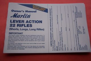 Marlin Lever Action 22 Caliber Rifle Owners Manual Dated 11 07