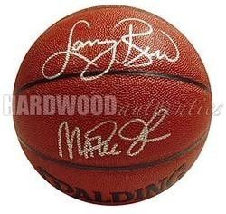LARRY BIRD & MAGIC JOHNSON RARE AUTOGRAPHED SPALDING OFFICIAL I/O