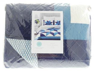Martha Stewart Geo Stars Reversible Quilt Blue Full Queen New