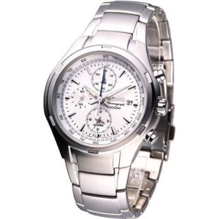 Seiko Men s Sports Chronograph Watch White SNAE39P1 Brand New