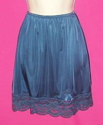 Vtg Sweet Midnight Blue Sheer Lace Insert Half Slip S