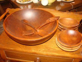 Vintage Mort Marton Birch Wood Canada Salad Set 9 Piece