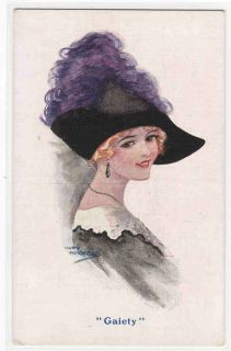 Beautiful Lady Hat Artist Signed Mary Horsfall 1910c Postcard