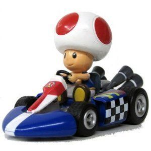 Mario Kart Wii Pull Back Roll Car Vehicle Toad Toy Kids Boys Fun Play