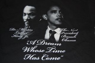Barack Obama Martin Luther King Jr Black Tshirt Election 2008 XL Extra