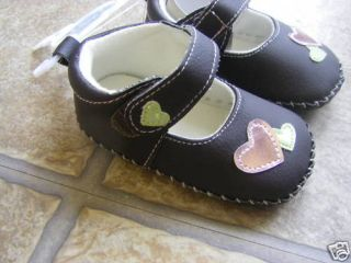 Girls Mary Jane Brown Pink Heart Crib Shoes 9 12 M