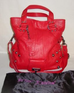 Johnson Red Leather Cross Body Messenger Tote Handbag Purse Bag