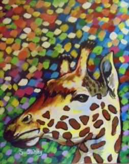 Colorful African Giraffe Original Acrylic Painting 16x20 on Canvas