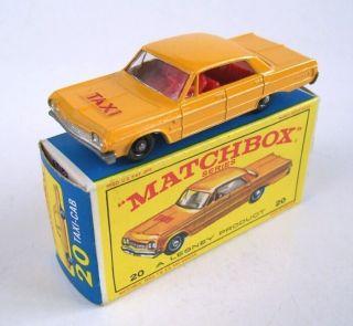 Matchbox Lesney 20 Chevrolet Impala Taxi Cab 1965 MIB