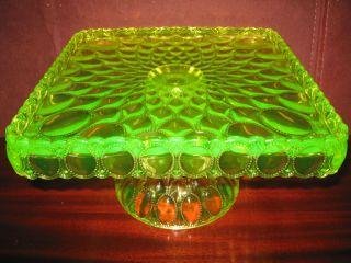 Square Vaseline Uranium Glass cake serving stand / plate platter