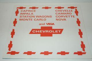 CHEVROLET CHEVY DEALER PAPER FLOOR MAT CORVETTE CHEVELLE NOVA CAMARO