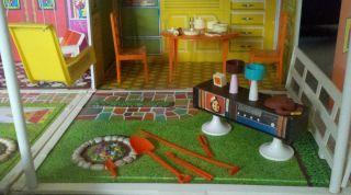 1970 Mattel Barbie Living Doll House + Mid Century Modern Furniture