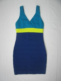 Express Blue Neon Yellow Bandage Stretch Color Block Dress Size XS New