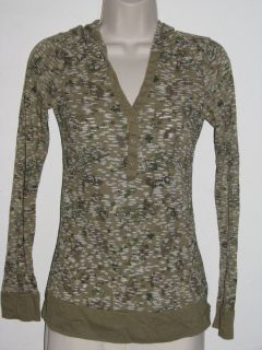 Maurices Sage Green Paisley Hooded Thermal Waffle Knit 1 2 Button Top