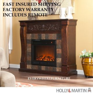 Electric Fireplace Mantel Heater TV Stand Remote Holly Martin